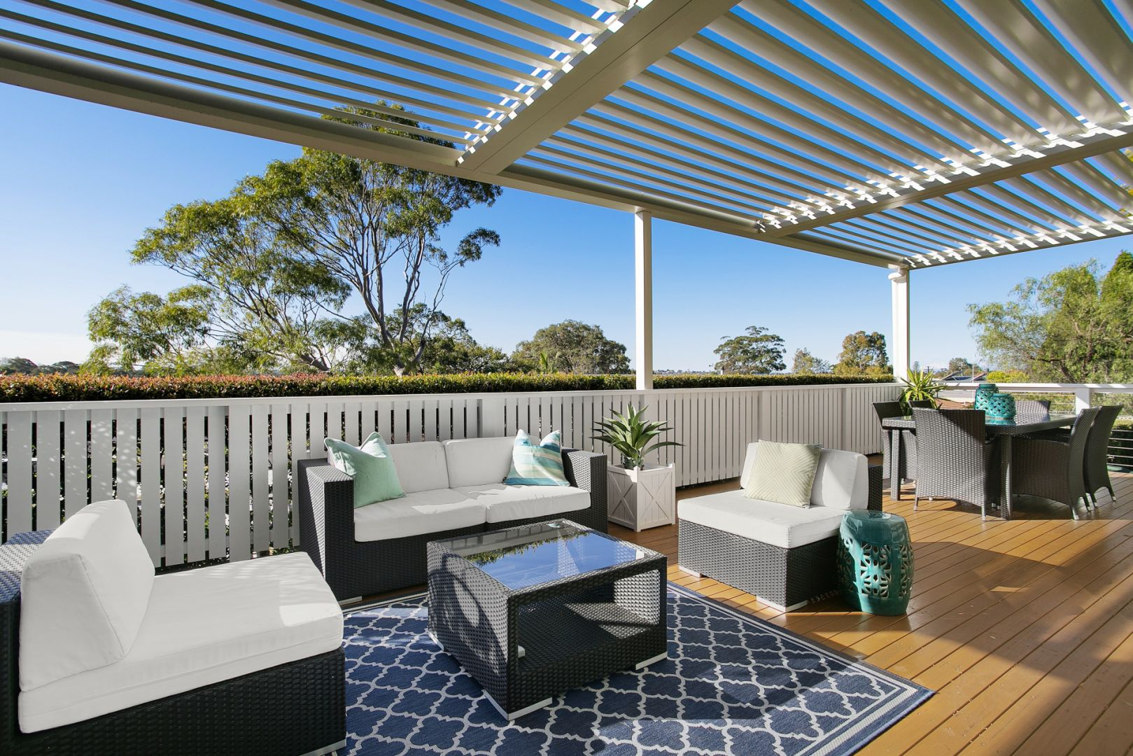 Outdoor Patio Deck with Sofa and Table