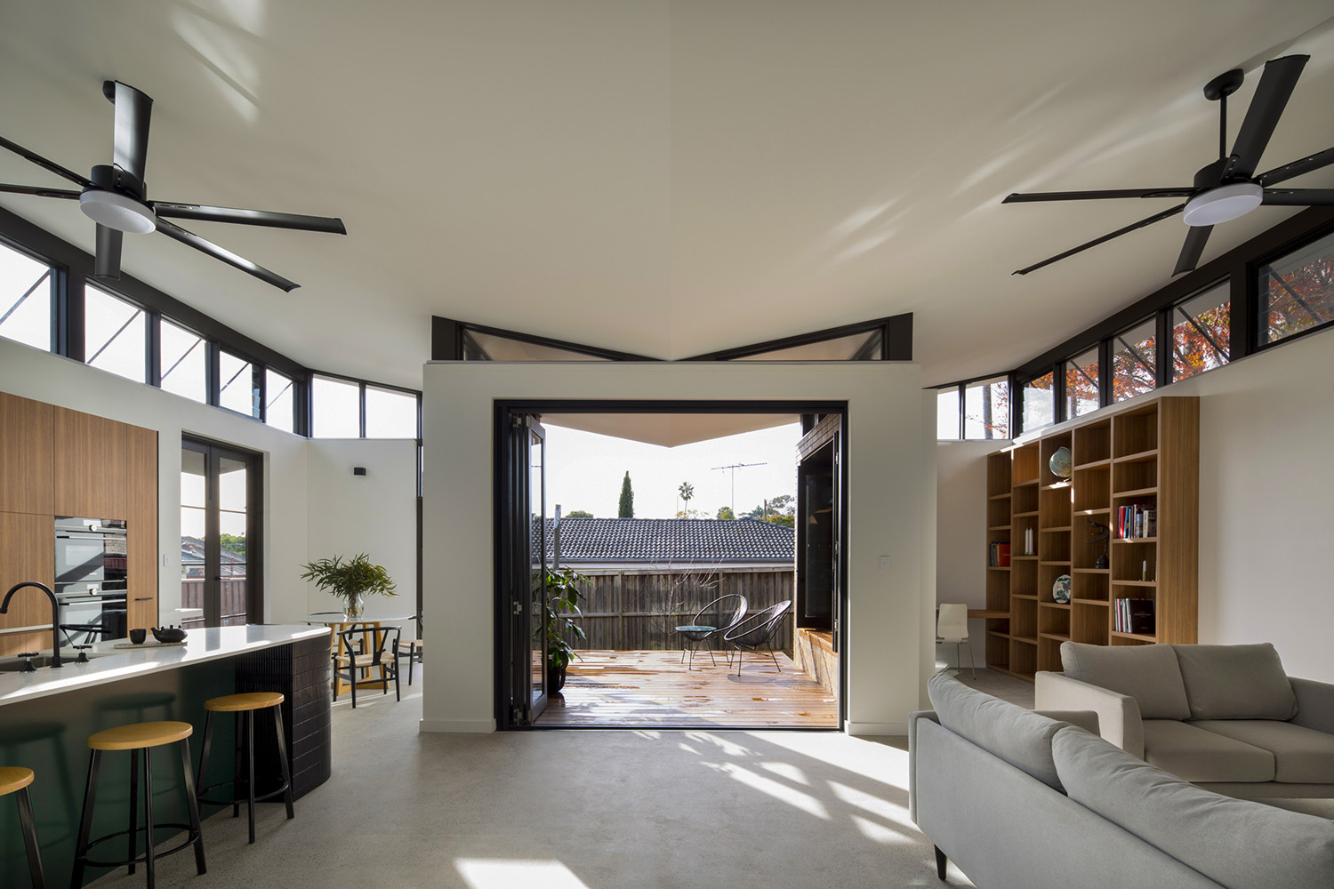 Butterfly Roof Kitchen and Lounge Room Interior