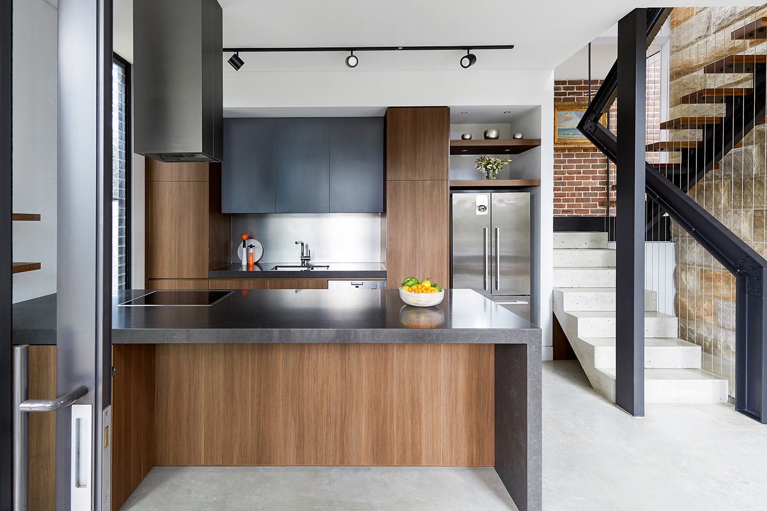 Modern Kitchen with Timber and Black Stone